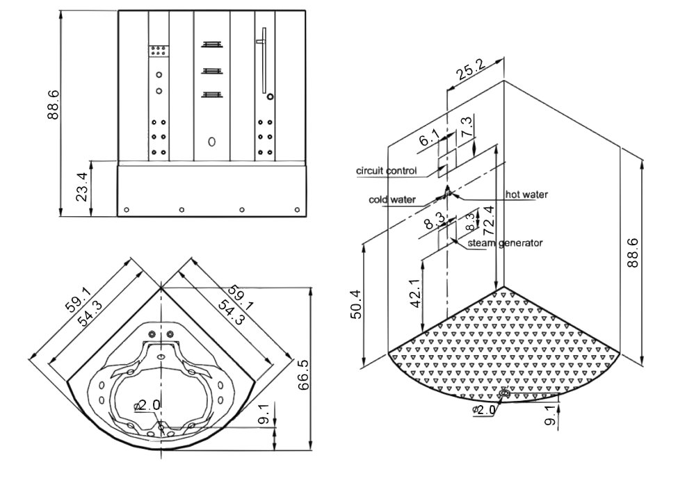 combo shower schematic drawing