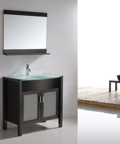 vanity with glass top