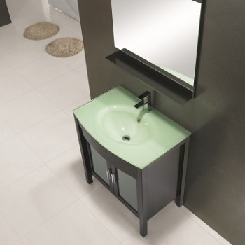 glass top vanity