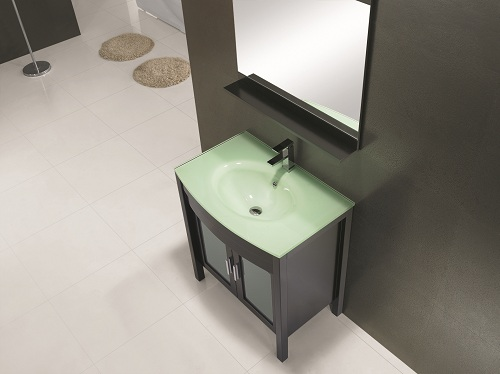 32 inch glass top vanity