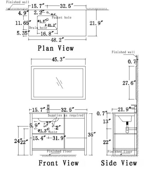 UF48L Vanity Schematic drawing