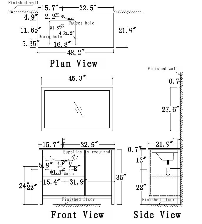 UF48L Vanity Schematic drawing
