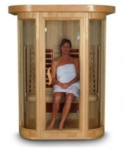 woman in sauna with color chroma therapy lights