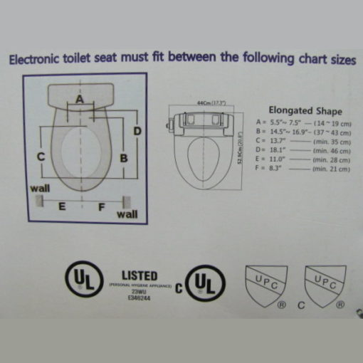 schematic drawing for Bidet Seat Washlet