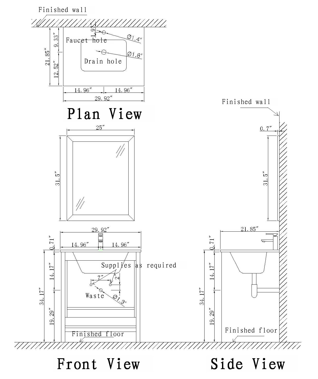 Small Vanity Schematic Drawing