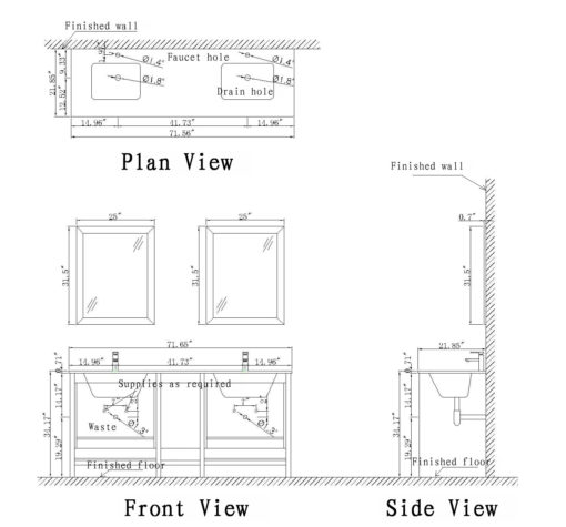 Large Vanity Schematic Drawing